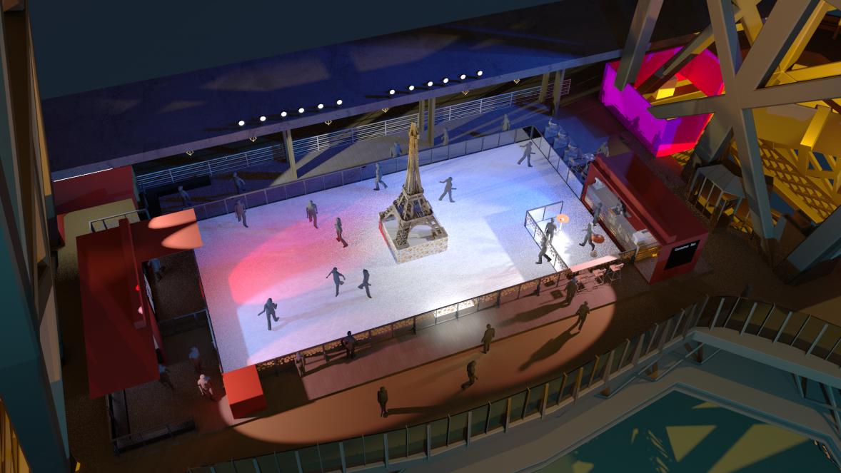 Vista aérea de la pista de hielo en la Torre Eiffel