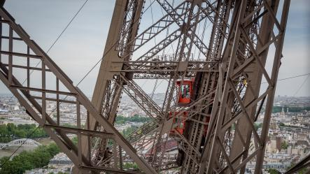 Photo structure and elevator Eiffel Tower
